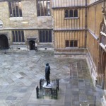 Climbing the stairs to the Duke Humfrey's Library, a nice view of the quad.