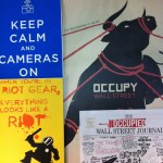 "A sample of the Book Fair special portfolio of the curated Occuprint project of the ""best of"" the Occupy movement's graphic art from around the world. 35 items in the great portfolio (there are still a handful left)."